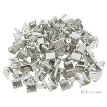 6x6mm Metal Belt Strap Ribbon Crimp Ends Silver 100pcs For DIY Doll Accessories