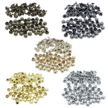 3mm Tiny Brass Mushroom Round Dome Rivets 5 Colors (Bronze, Charcoal, Old Gold, Gold, Silver) Each Color 20pcs Total 100pcs For DIY Doll Clothes Sewing Craft