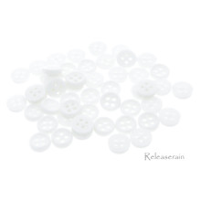Releaserain 6mm Plastic Round 4-Hole Mini Sewing Buttons with Rim 50pcs Milky White For DIY Craft Doll Clothes
