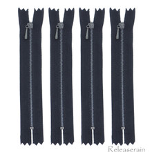 "4"" Charcoal Brass Close-End #0 Tiny Teeth Doll Clothes Black Sewing Zippers 4pcs"