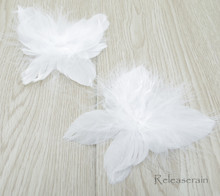 """DIY Doll Craft Supplies 4""""x4.5"""" Handcrafted White Costume Turkey Feather Fairy Angel Wings Set of 2 Pieces For Dolls"""