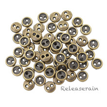 5mm Round Doll Clothes Sewing Sew On Bronze Plated Metal Miniature Buttons with Rim 60 Pieces