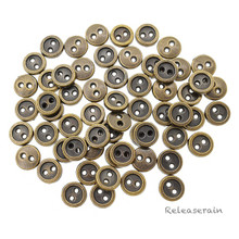 6mm Round Doll Clothes Sewing Sew On Bronze Plated Metal Miniature Buttons with Rim 60 Pieces