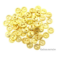 6mm Round Doll Clothes Sewing Sew On Gold Plated Metal Miniature Buttons with Rim 60 Pieces