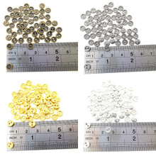 6mm Round Doll Clothes Sewing Sew On Plated Metal Miniature Buttons with Rim 4 Colors Each Color 15pcs Total 60 Pieces