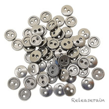 7mm Round Doll Clothes Sewing Sew On Charcoal Plated Metal Miniature Buttons with Rim 60 Pieces