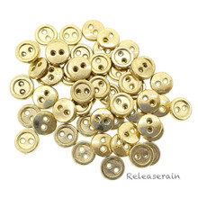 7mm Round Doll Clothes Sewing Sew On Gold Plated Metal Miniature Buttons with Rim 60 Pieces