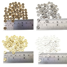 7mm Round Doll Clothes Sewing Sew On Plated Metal Miniature Buttons with Rim 4 Colors Each Color 15pcs Total 60 Pieces