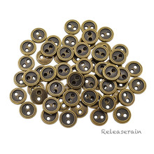 8mm Round Doll Clothes Sewing Sew On Bronze Plated Metal Miniature Buttons with Rim 60 Pieces