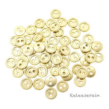 8mm Round Doll Clothes Sewing Sew On Gold Plated Metal Miniature Buttons with Rim 60 Pieces