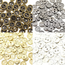 8mm Round Doll Clothes Sewing Sew On Plated Metal Miniature Buttons with Rim 4 Colors Each Color 15pcs Total 60 Pieces