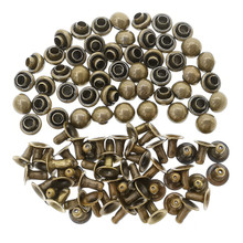 4mm Tiny Bronze Brass Dome Mushroom Round Rivets For DIY Doll Clothes Sewing Craft 50 Sets