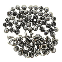 4mm Tiny Charcoal Brass Dome Mushroom Round Rivets For DIY Doll Clothes Sewing Craft 50 Sets