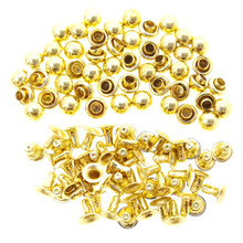 4mm Tiny Gold Brass Dome Mushroom Round Rivets For DIY Doll Clothes Sewing Craft 50 Sets