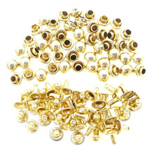 4mm Tiny Old Gold Brass Dome Mushroom Round Rivets For DIY Doll Clothes Sewing Craft 50 Sets