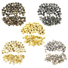 4mm Tiny Brass Mushroom Dome Round Rivets 5 Colors 20 Sets Each Color Total 100 Sets For DIY Doll Clothes Sewing Craft