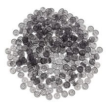 Releaserain 3mm Clear Black Tiny Round Doll Clothes Sewing Plastic Buttons with Rim Set of 50