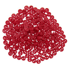 Releaserain 3mm Red Tiny Round Doll Clothes Sewing Plastic Buttons with Rim Set of 50