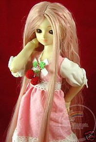 Pink Blonde Wavy 7-8 Wig #4125 for MSD BJD Dollfie Ellowyne Wilde Dolls