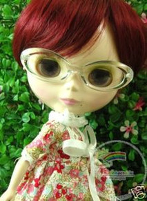"Releaserain Doll Glasses Clear Transparent Frame Clear Lens Eyeglasses #A1 For 12"" Blythe Dolls"