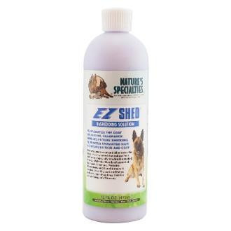 Natures Specialties EZ Shed conditioner works to control excessive dog shedding by removing dead undercoat.