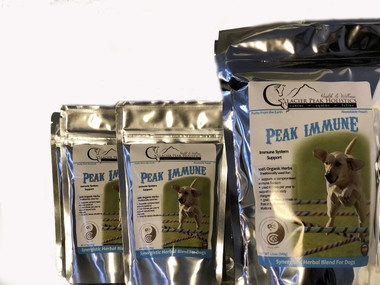 Peak Immune by Glacier Peak  Holistics . 100% organic  herb blend containing Echinacea Ang. Root, Alfalfa, Astragalus, Eluthero and Oatstraw green tops.