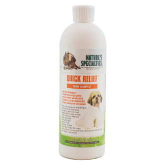 Quick Relief Neem dog shampoo.  Professional groomers and Veterinarians have helped eliminate many difficult skin problems using this medicated shampoo. With it's anti itch, microbial, anti fungal, anti bacterial, and anti septic abilities it naturally deodorizes while aiding in the relief of the itching and irritation that comes with flea and tick infestation, ring worm, eczema and the loss of hair seen with chewing and biting.  Safe for puppies and kittens over 6 weeks old and may be used on other small animals.  For best results follow with Nature's Specialties® Aloe Remoisturizer to add moisture and help soothe the skin.  Contains: Neem, plus a combination of herbal oils in a mild shampoo base.