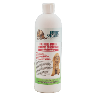 Colloidal Oatmeal Shampoo (16 FL OZ) This therapeutic medicated shampoo relieves itching, helps relieve danger, and leaves your dog with a soft and great smelling coat.  Made with oatmeal, it provides a soothing scrub that helps relieve itching and discomfort associate with dry/flaky skin, hot spots, flea bites, seborrhea, and reduces dermal inflammation.  It helps restore natural moisture to skin and coat proving the perfect solution for your dog's skin problems during season weather changes.  Safe for dogs and cats of all breeds.