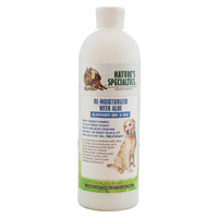 The #1 choice of professional groomers for a deep penetrating conditioner that will replace a Hot Oil Treatment without any of the mess or the oily and greasy build up.  It absorbs in minutes so all you rinse off is the excess and by using this regularly you will help keep your pet's skin and coat looking healthy and feeling great.  You can be assured that your dog will not be the only one that notices the difference.    May be used following a bath with any shampoo.  For best results with those real itchy times, use after bathing with Nature's Specialties® Quick Relief® Neem Shampoo. Safe for puppies and kittens over 6 weeks old and may be used on other small animals.   Contains: water, a blend of essential oils including Aloe vera & Jojoba, vitamins A , D & E and a fresh Baby fragrance.