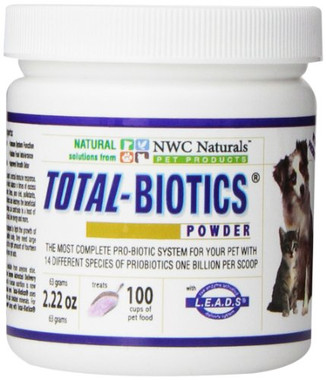 Total-Biotic's® is made with 14 stabilized strains of live pro-biotics and pre-biotics with over 1 billion CFU's per scoop.  Main benefits of Total-Biotics® are; boosts the immune system, controls yeast overgrowth, improves digestion, removes toxins, helps make B vitamins and promotes proper elimination.    Contains: Acidophilus DDS-1, B. bifidum, Bacillus coagulant,Bifidobacterium breve, B. lactis (B. animals), B. long, L. braves, L. casei, L. plantarum, L. rhamnosus, Lactococcus acties, L. salivarius, Streptococcus thermopiles, L. Bulgaricus  Also contains: Prebiotics-Inulin IQ FOS (Fructooligosaccharides) - MGG chelate (The only patented stabilized glutamine in the world) which help repair a damaged intestinal tract. Live Enzyme Activated Delivery System (L.E.A.D.S.) which guarantees assimilation and utilization of the nutrients at the cellular level.  Directions: One scoop of Total-Biotics® per cup of pet food (free scoop inside jar). Doubling that dose is recommended to help control yeast or candida, or when feeding raw food, on antibiotics or any medications.