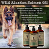 The  benefits of Wild Alaskan Salmon Oil for dog: Promotes shiny coat and healthy skin. Can eliminate dandruff and dry skin. Aids in reduction of inflammation. Helps with skin allergies. Supports proper joint function. Helps fights heart disease. Natural cancer fighting agent.