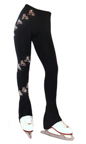"Ice Skating Pants with  "" Spiral Skates"" Rhinestones Design"