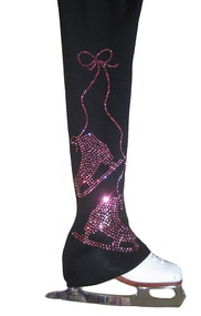 "Figure Skating Pants with pink rhinestones ""Pair of Skates"" applique"
