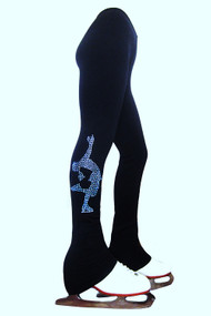 "Polartec  Ice Skating Pants with blue crystals ""Layback"" applique"