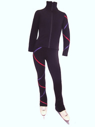 Criss Cross Fleece  Ice Skating Pants Purple/Fuchsia XP611
