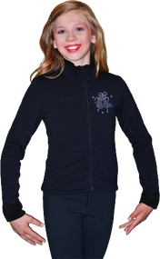 ChloeNoel Figure Skating Outfit - P11 Figure Skating Pants and J11 Solid Polar Fleece Fitted Figure Skating Jacket w/ Mini Blue Ribbon Crystals Combination