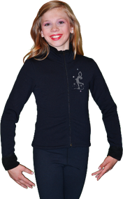 ChloeNoel Figure Skating Outfit - P11 Figure Skating Pants and J11 Solid Polar Fleece Fitted Figure Skating Jacket w/ Mini Lay-Back Skater Crystals Combination