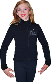 ChloeNoel Figure Skating Outfit - P11 Figure Skating Pants and J11 Solid Polar Fleece Fitted Figure Skating Jacket w/ Skate/Blue Snowflakes Crystals Combination