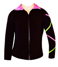 Criss Cross  Poly/Spandex Ice Skating Jacket  Pink/Lime XJ120