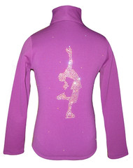 """Purple Ice Skating Jacket with """"Lay Back"""" applique"""
