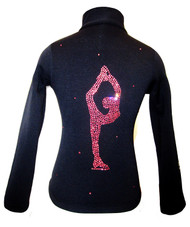 "Black ice Skating Jacket with Pink Crystals ""Bielmann"" rhinestone applique"