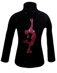 "Black ice Skating Jacket with Pink Crystals ""Layback"" rhinestone applique"