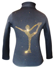 "Ice Skating Jacket with Gold rhinestones "" Chinese Spiral"" applique"