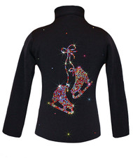 "Black ice Skating Jacket with Rainbow Mix ""Pair of skates"" rhinestones design"