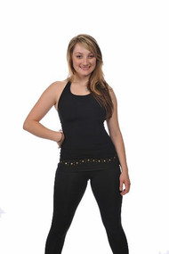 Savvy Skater Gold Stud Trim Fold-over Figure Skating Pants