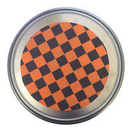 """The Mad Spinner for Ice Skating 12"""" diameter - Orange & Black Checkers"""