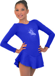 ChloeNoel DLF38 Long Sleeve Fleece Dress with Crystals (Royal)