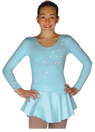 ChloeNoel DLP728 Plain Solid Sanded Poly Spandex Dress Light Blue w/ Snow Flakes