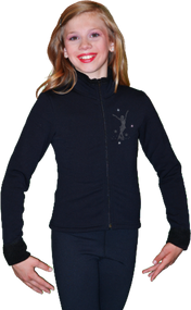 ChloeNoel J11 Solid Polar Fleece Fitted Figure Skating Jacket w/ Mini Jump Skater Crystals
