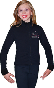 ChloeNoel J11 Solid Polar Fleece Fitted Figure Skating Jacket w/ Skate/Fuchsia Snowflakes Crystals